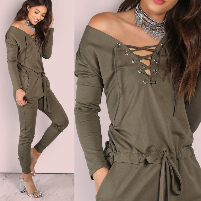 aa4a0421aaf HIRIGIN Brand New Fashion Jumpsuits Girls Women Casual Long Sleeve Bodycon  Lace Up Romper Jumpsuit Club Bodysuit Long Pants