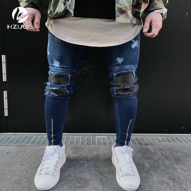 HZIJUE Famous Brand Designer Slim Fit Ripped Jeans Men Hi-Street Mens Distressed Denim J ...