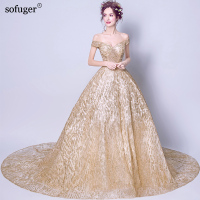 18 V Neck Short Sleeves Golden Ball Gown Court Train Custom Made Elegant Wedding DressesBrida Robe de Marriage Wedding Gown