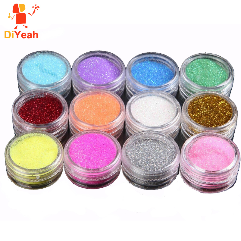 Nail Art Supplies Sale 1 Set Colored Acrylic Powder: Aliexpress.com : Buy 12 Colors /lot Glitter Tattoo Body