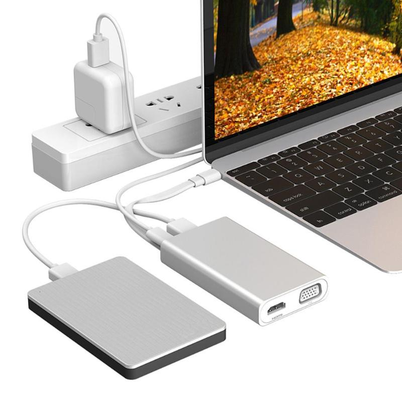 USB HUB All in One USB-C to HDMI VGA Card Reader RJ45 Ethernet USB3.0x2 Adapter for MacBook Type C HUB USB 3.0 ugreen usb hub all in one usb c to hdmi vga card reader rj45 pd adapter for macbook samsung galaxy s9 s8 s8 type c hub usb 3 0
