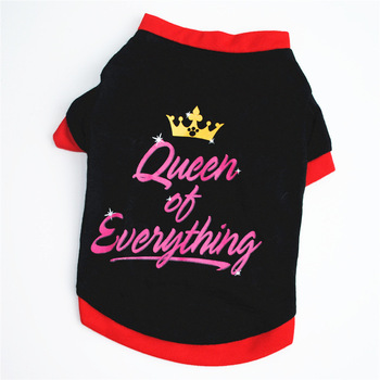 Black Letter Print QUEEN Dog Vest Breathable Spring and Summer Cotton T-shirt for Small Dog Teddy Bomei Poodle Dog Tops
