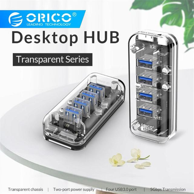 ORICO Desktop Transparent USB 3.0 HUB 4 Ports 5Gbps High Speed with Power Charger for Mobile Phone Windows Mac Linux Laptop PC