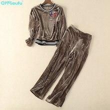 QYFCIOUFU High Quality Fashion Women 2 Piece Pants Sets Long Sleeves Velvet Tracksuits Sweatsuit + Casual Pants Sweatpants Suit