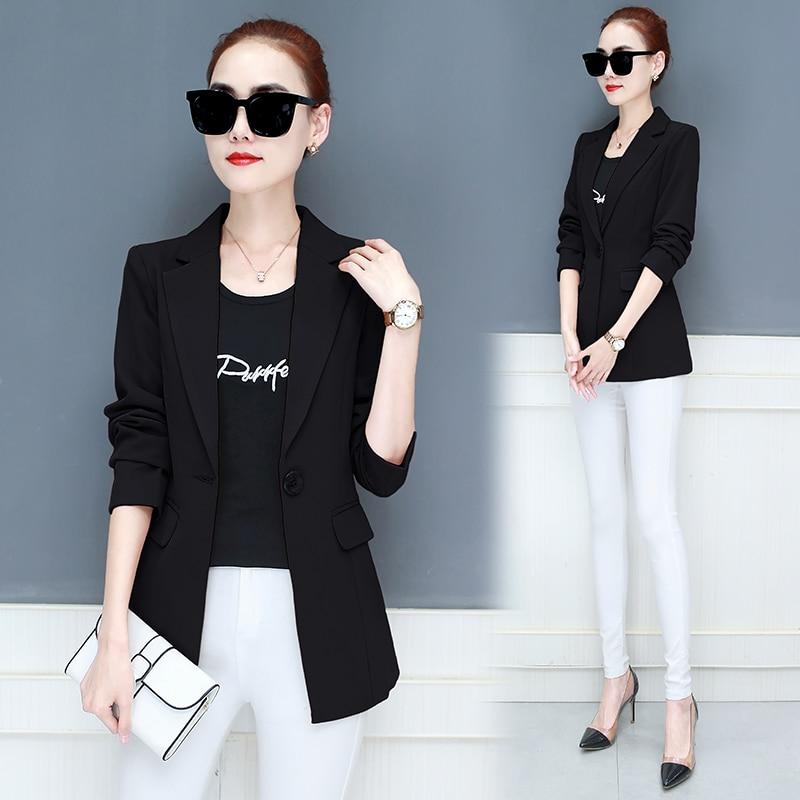 LANLOJER New Women Blazer Mid-Long Jackets Solid Casual Coat Blazer Feminino Women Blazers Tops Suit 890#