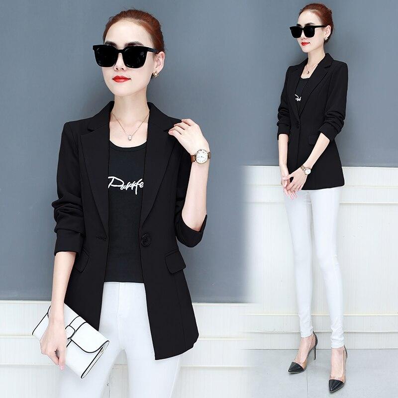 LANLOJER nuevas mujeres chaqueta medio-largo chaquetas Casual escudo sólido Blazer femenino mujeres Blazers Tops traje 890 #