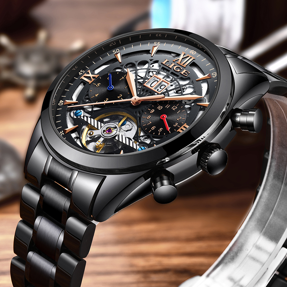 Top Brand LIGE Men Automatic Self Wind Stainless Steel 3ATM Waterproof Automatic Calendar Mechanical Watch Fashion