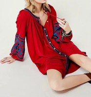 2019 Summer Women Floral Embroidery Boho Dresses Cotton O Neck Lace Up Loose Dress Casual Lantern Sleeve Beach Dress