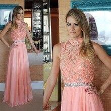 Pink A line Prom font b Dress b font 2016 High Neck Sleeveless Sweep Train Chiffon