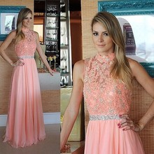 Rosa A-line Abendkleid 2016 High-Neck Sleeveless Sweep Zug Chiffon mit Kristall Lange Formale Abendkleid Kleid PD134