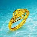 Ювелирные изделия Настоящее 24 К Позолоченные Кольца Женщины Ювелирные Изделия Кольца Для Женщин Европейский и Американский Стиль Кольцо Очарование