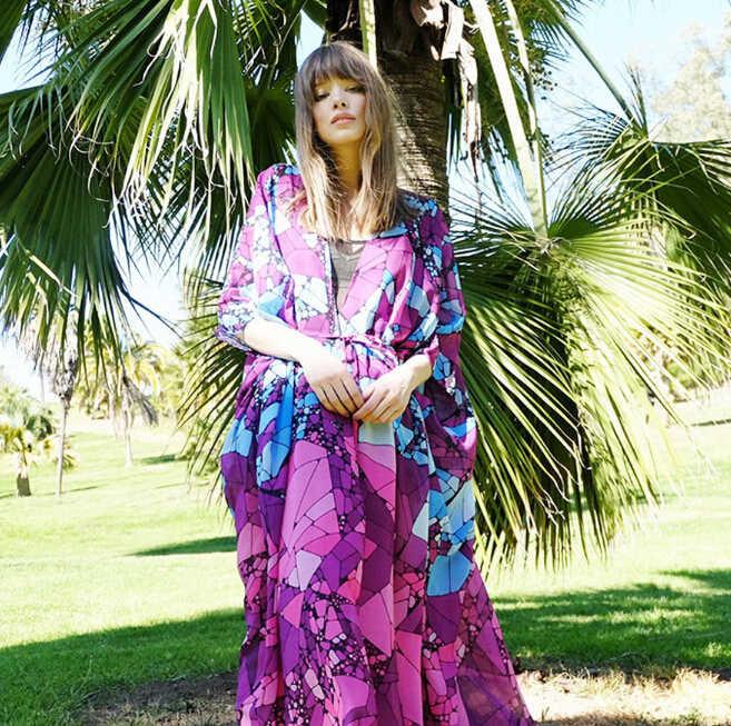 Kadınlar Bayanlar Ebru Kimono Uzun Bluz Hırka Şifon Uzun Kollu Gevşek Plaj Boho Bikini Cover Up Yaz Giyim