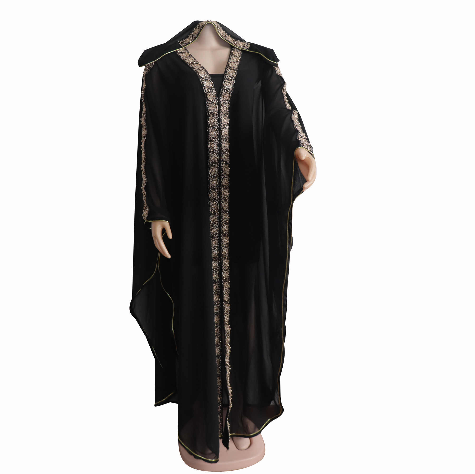 Африканская одежда для женщин Горячая Распродажа с капюшоном летнее шифоновое Abayah размера плюс черное платье с разрезом с эластичной внутренней одеждой