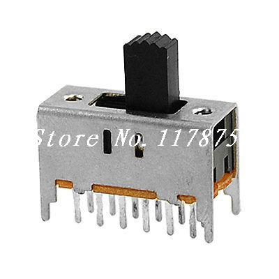 10 Pcs ON/ON 2 Position 4P2T 4PDT Vertical Slide Switches 12 Pin PCB SS42H11-G5 image