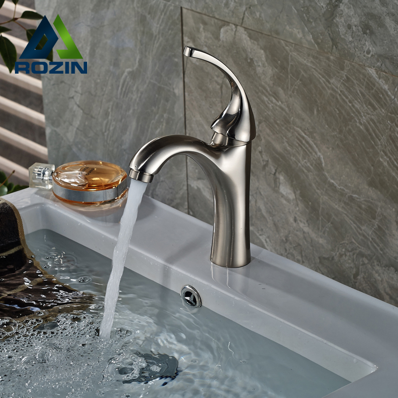 Deck Mount Brushed Nickel Bathroom Vessel Sink Faucet Single Lever Hot and Cold Water Basin Faucet