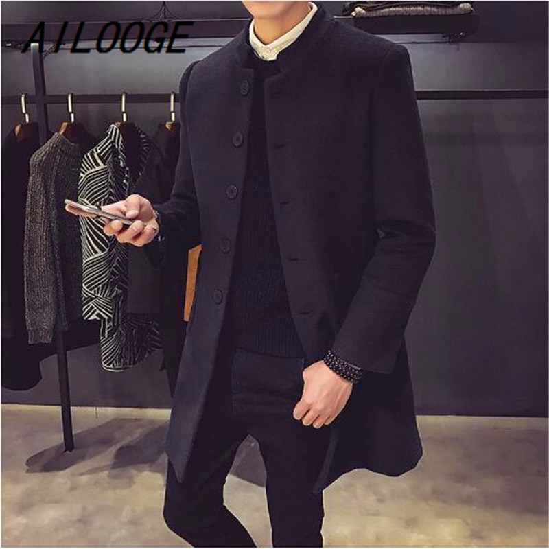AILOOGE Men's Wool Coats & Jackets Winter Cashmere Jacket Man Long Section Single Breasted Overcoat Turn-down Collar Casual Wool