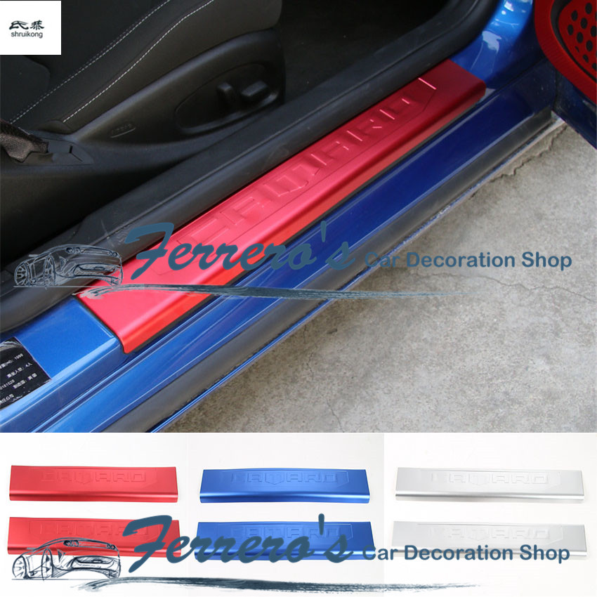 Free shipping 2pcs lot car stickers Aluminum alloy door sill Scuff Plate cover car accessories For
