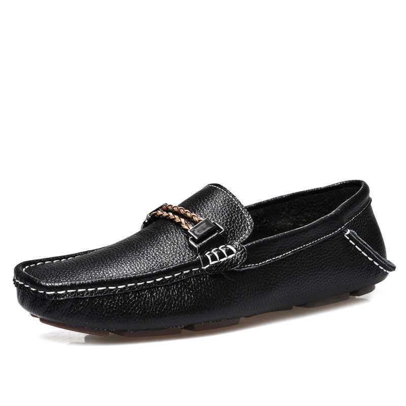 GOXPACER New Men Shoes Giày Đế Casual Shoes Genuine Leather Flats Gót Chân phẳng Giày Man Anh Phong Cách Nam Cow Leather Thấp mềm