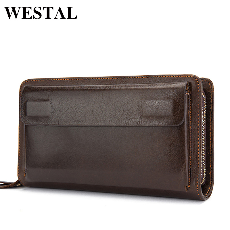 WESTAL Double Zipper Money Clip Wallet Clutch Bag Men's Purses Genuine Leather Men Wallets Leather Man Wallet Long Male Purse men clutch bag italian vegetable tanned leather long wallet luxury phone wallets wristlet male purse man clutch hand bag purses