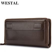 Best Price WESTAL Double Zipper Money Clip Wallet Clutch Bag Men's Purses Genuine Leather Men Wallets Leather Man Wallet Long Male Purse