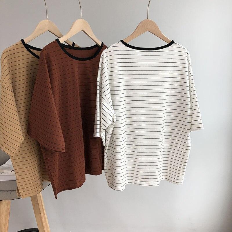 2018 Oversize A Righe T-shirt Da Donna Batwing Di Modo Di Estate Tees Manica Femme Bianco O Collo In Cotone T Shirt Casual Khaki Prestazioni Superiori