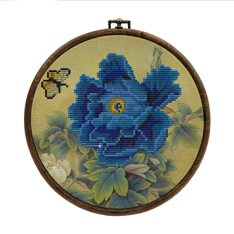 Pre-Printed Needlework Cross Stitch Embroidery DIY Kit Europe Three-dimensional Flower With Hoop Frame Embroidery Lover Starter