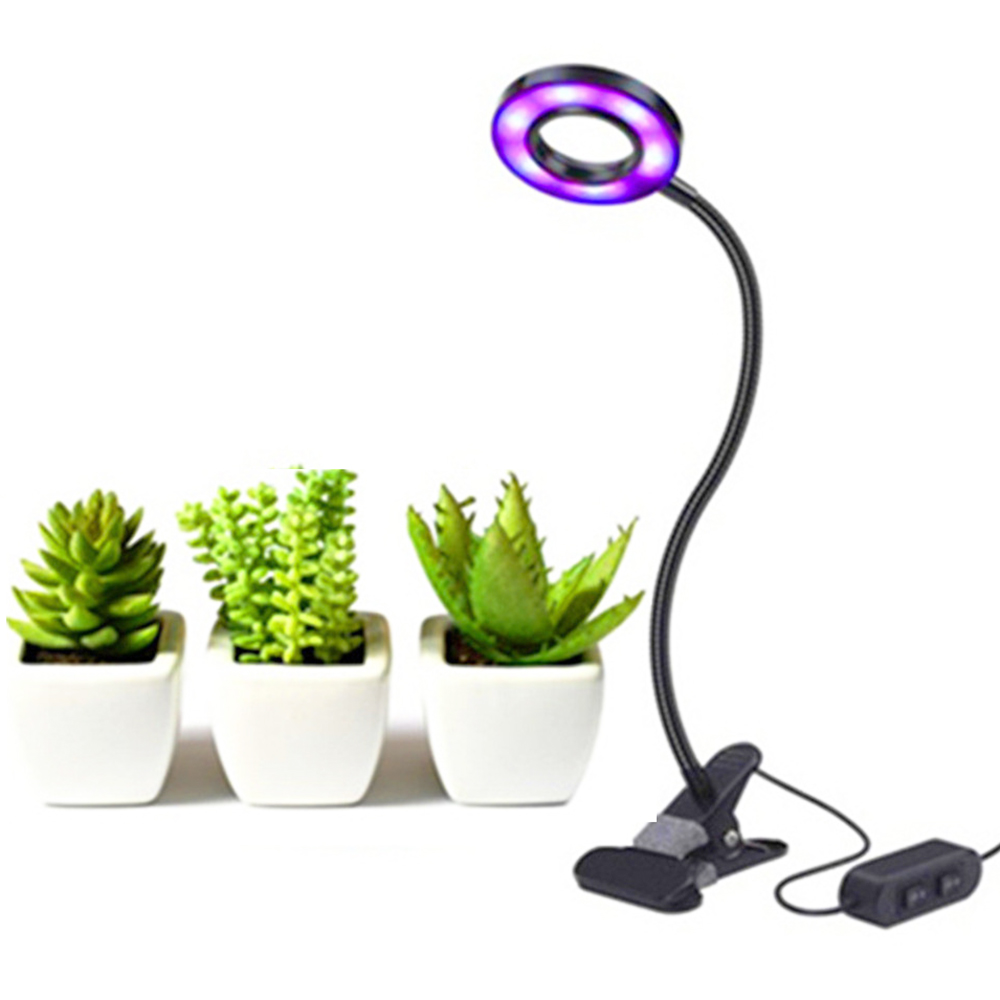 10W LED USB Indoor Clip-on Plant Grow Light 8 Mode Dimmable Desk Lamp Adjustable