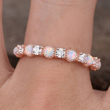 2019 Hot Simple Shiny White Opal Finger Rings Fire Zircon Champagne Rose Gold Color Ring For Women Jewelry Gifts