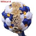 Пользовательские Синий Белый Розы Золото Брошь Свадебные Букеты Потрясающие Кристалл Свадебный Букет Украшения Из Золота Шелковые Букеты Невесты W227