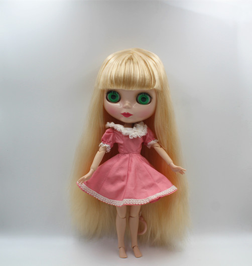 Blygirl Blyth doll Light golden bangs straight hair nude doll 30cm joint body 19 joint DIY doll can change makeup