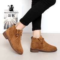 Stylish bow design Boots Women High heel Spring/Autumn Square heel moccasins Zip casual fashion nice shoes for women