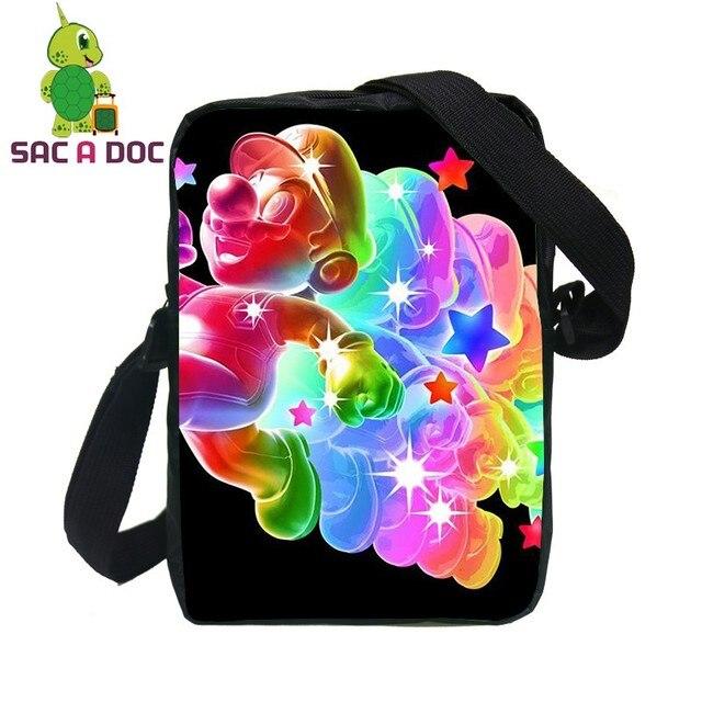 33fd6ab58c345 الكرتون سوبر ماريو طباعة أكياس صغيرة رسول للأطفال الفتيان الفتيات حقيبة سفر  النساء الرجال عارضة حقائب