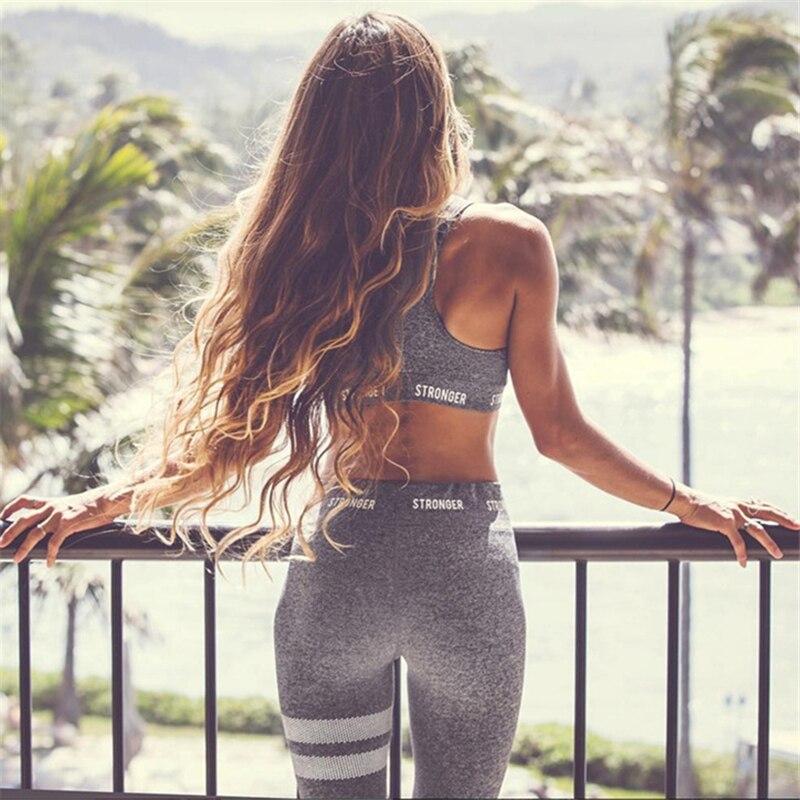 2018 Femmes De Yoga Ensembles Gilet Costume de Remise En Forme GYM Usure Entraînement Vêtements Course Mince Leggings Pilate Sport Wear Sport Costumes De Yoga pantalon
