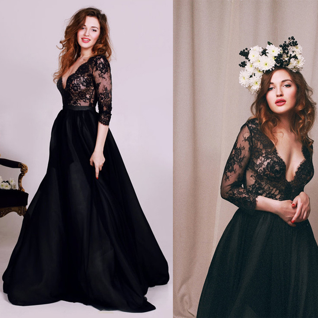 2016 Beautiful Cheap V Neck Long Sleeves Black Ball Gown Prom