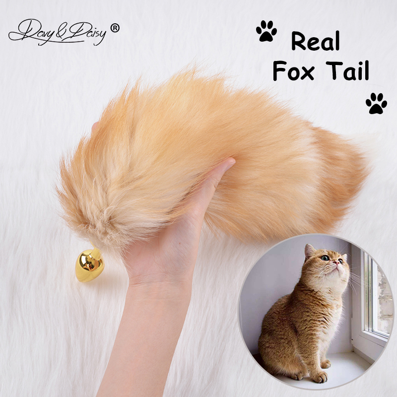 DAVYDAISY Silvery Golden Metal Anal Plug Real Fox Tail Butt Plug Stainless Steel Women Adult Sex Accessories for Couples AC105