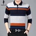 Troilus 2017 Классические Мужские Polo Рубашка Полосатый Длинный Рукав Вязаный Пуловер Мужчины Марка Одежды Мужчины Бизнес Slim Fit Polo Shirts