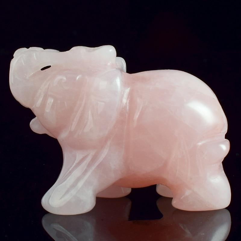 2-calowe figurki słonia Rzemiosło rzeźbione kamień naturalny Kwarc różowy Kryształ Mini statua zwierząt do wystroju wnętrz Chakra Healing