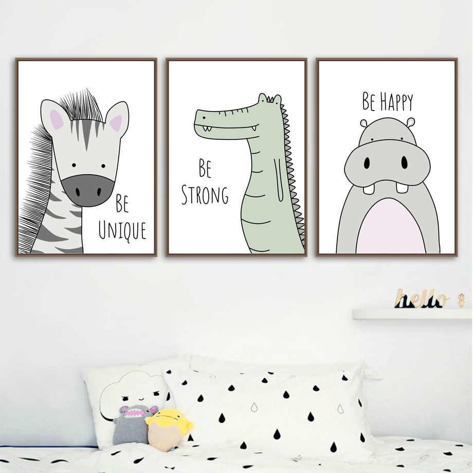Зебра бегемот жираф, лев крокодил настенная живопись садик холст живопись плакаты на скандинавскую тему и принты настенные картины Детская комната Декор