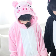 Free Shipping Animal Onesie Pig Pajamas For Kids Pink Pig Pijamas Jumpsuite Children Anime Cosplay Costume For Girls and Boys(China)