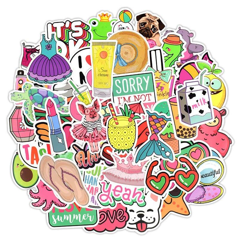 60pcs Cartoon Pink Girl Kwaii Style Graffiti Stickers for DIY Luggage Laptop Car
