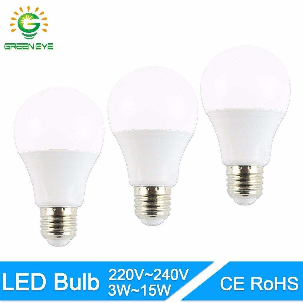 GreenEye LED Bulb 2835SMD E27 3W 5W 7W 9W 12W 15W Screw Round Bulb Household High Brightness Led Spotlight Lamps Lampada