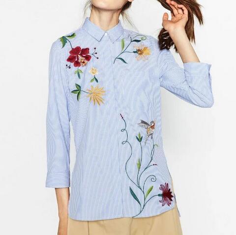 7e433d84c Vogain 2016 nueva moda mujer azul rayas flores bordadas camisa 3 4 mangas  abotonado frente blusa Camisas en Blusas y camisas de La ropa de las  mujeres en ...