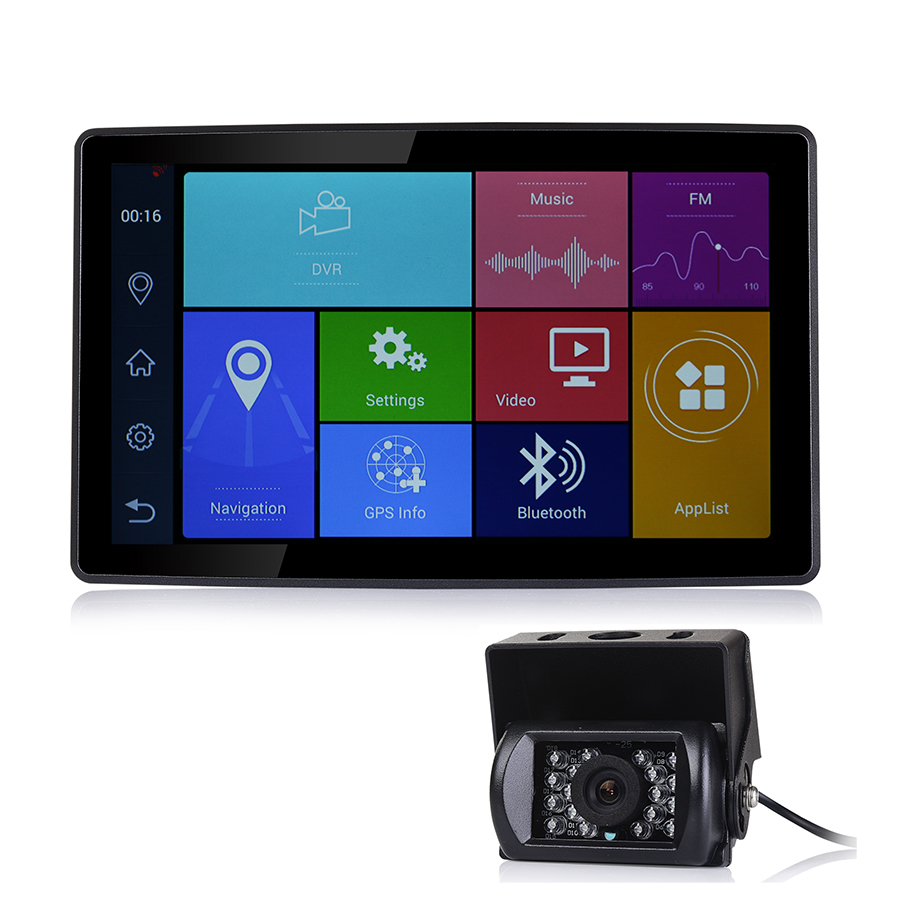 Udricare 9 inch Android Bluetooth Phone Car Truck Bus GPS Navigation WiFi Full HD 1080P DVR Dual Lens Rear View Camera DVR GPS
