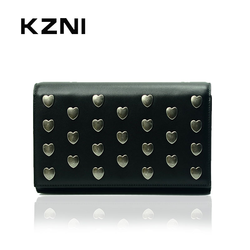 KZNI Genuine Leather Rivet Crossbody Bag Wallet Clutches Cards Holder Bag with Chain Large Capacity Fashion Handbags 2017 1399