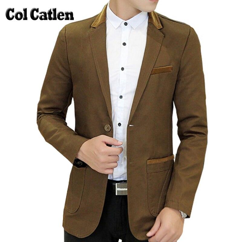 Új érkezés Blazer férfiak márka-ruházat Egyszínű pamut Slim Fit divat férfi blézerek Design szociális kabátok és kabát férfias
