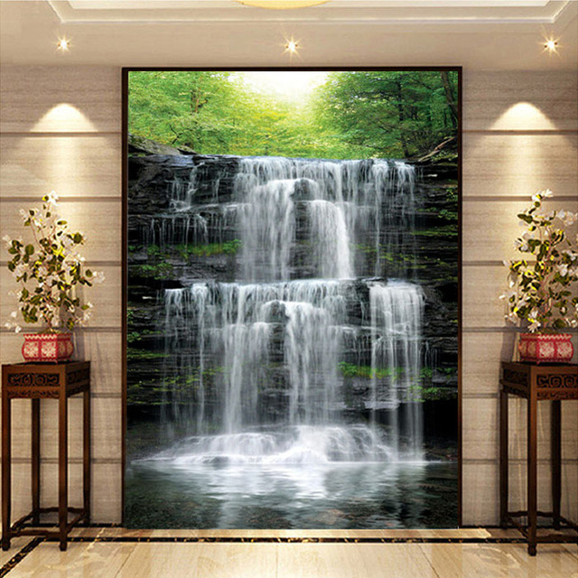 Custom Mural Wallpaper Landscape Natural Waterfalls Wall Mural Straw Non-woven Wall Paper Living Room Entrance Wall Room Decor 1