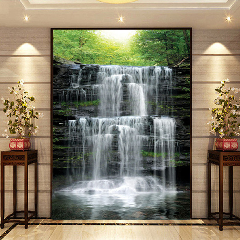 Custom Mural Wallpaper Landscape Natural Waterfalls Wall Mural Straw Non-woven Wall Paper Living Room Entrance Wall Room Decor