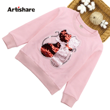 Girls Sweatshirts Cartoon Fox Sequins Child Hoodies Autumn Winter Long Sleeves Sweater Kids T-shirt Clothes 6 8 10 12 13 14