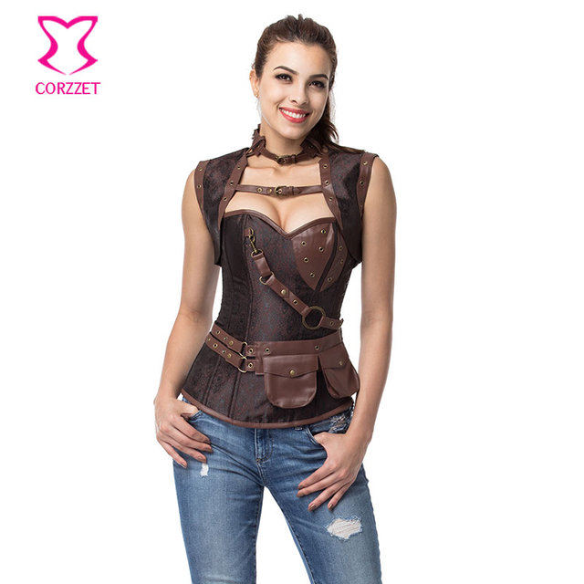 b813ba025b Vintage Brown Steampunk Corset Jacket Outfits Espartilhos E Corpetes  Emagreciment Plus Size Corsets and Bustiers Gothic Clothing