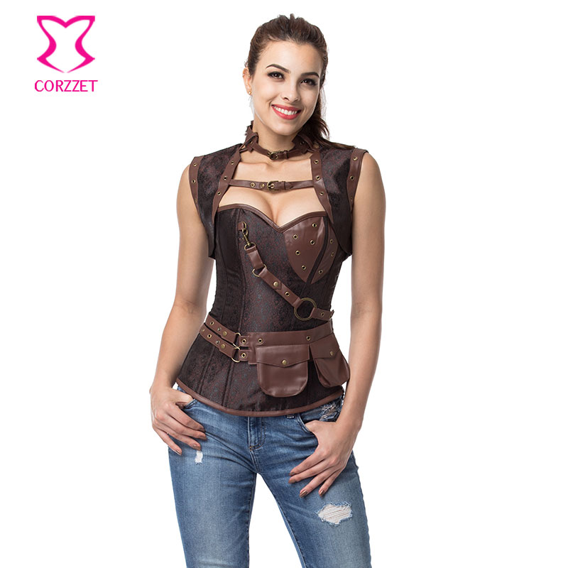 Vintage Brown Steampunk   Corset   Jacket Outfits Espartilhos E Corpetes Emagreciment Plus Size   Corsets   and   Bustiers   Gothic Clothing